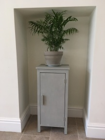 Narrow cupboard painted in Paris Grey