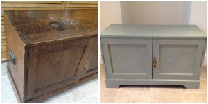 Before and after photos of an oil stained cabinet, made over in gorgeous duck egg blue :-)